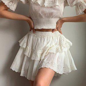 Aritzia Sunday Best Lady size 00 White Ruffled Embroidered Mini Skirt